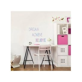 image-Metallic Slogan Wall Stickers Blue, Green and Pink