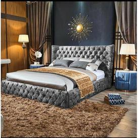 image-Jake Upholstered Bed Frame Willa Arlo Interiors Colour: Silver, Size: Small Double (4')