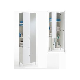 image-Tarragona 2 Tall Bathroom Cabinet In White With Mirrored Door