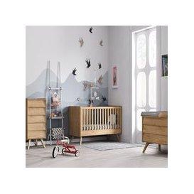 image-Vox Vintage 3 Piece Cot Bed Nursery Set in a Choice of Oak or 5 Pastel Colours - Oak