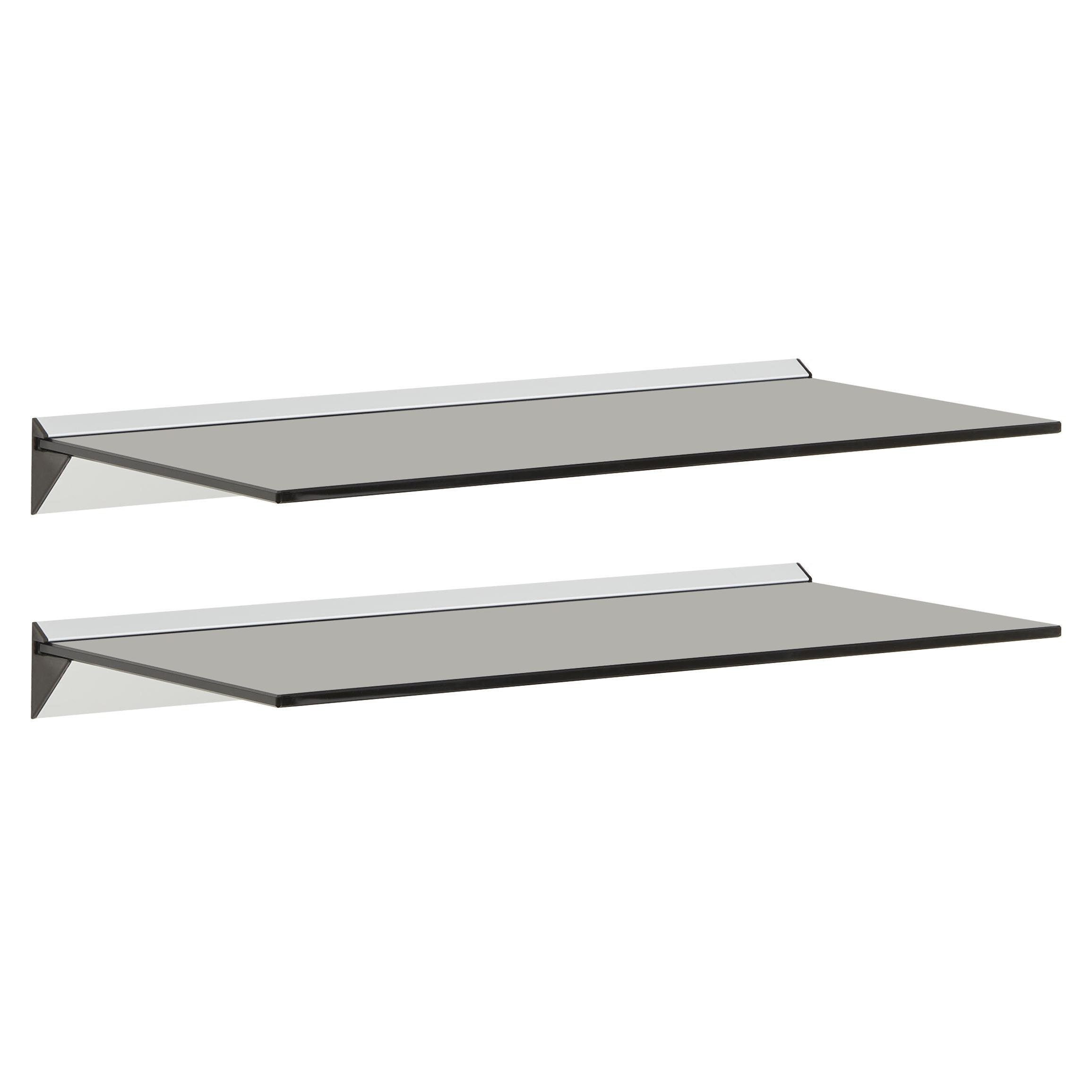 image-Hartleys 60x26cm Black Floating Glass Wall Shelves - Pair