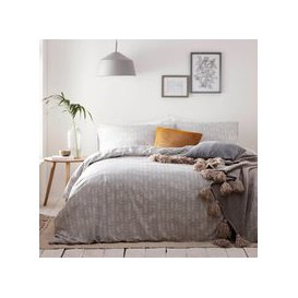 image-Greenwich Grey 100% Cotton Duvet Cover and Pillowcase Set Grey and White