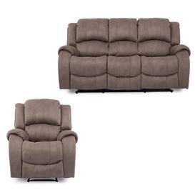 image-Vida Living Furniture Darwin Smoke Grey Fabric 3 Seater Recliner Sofa and Armchair Set