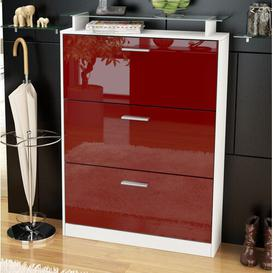 image-Lavia 24 Pair Shoe Storage Cabinet Vladon Finish: Burgundy (glossy)/White (matt), Lighting included: Yes