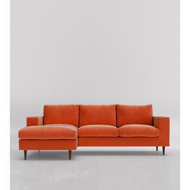 image-Swoon Evesham Left Corner Sofa in Burntorange Easy Velvet With Dark Feet