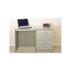 image-Small Office Desk Set With 2 Drawer Filing Cabinet (Grey Nebraska)