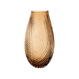 image-Amber Ribbed Glass Pear-Shaped Vase H33