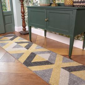 image-Yellow Grey Modern Geometric Living Room Runner Rug - Vivid