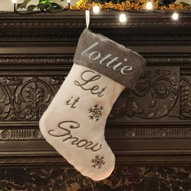 image-Let It Snow Personalised Christmas Stocking East Urban Home Colour: Glitter Silver
