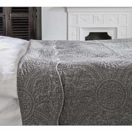 image-Colette Charcoal Grey Quilted Bedspread