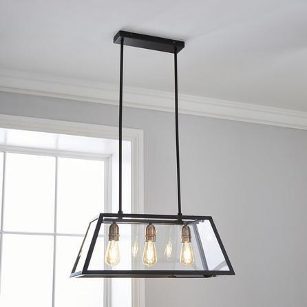 image-Aneska 3 Light Black and Copper Diner Ceiling Fitting Black