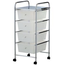 image-Cisneros 4 Drawer Storage Utility Cart Symple Stuff Colour: White