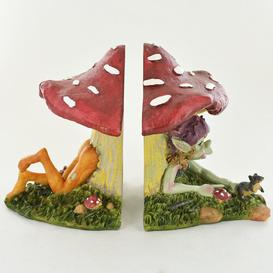 image-Shelf Tidies Pixie Under Mushroom Bookends Happy Larry