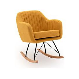 image-Katell Fabric Rocking Chair In Mustard With Wooden Base