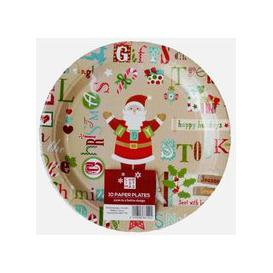 image-Large Christmas Paper Plates 10 Pack - Santa Text Design