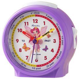 image-Analog Quartz Alarm Tabletop Clock in Purple/White Ravel