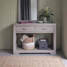 image-Solid Oak with Grey Wash  Console Tables - Console Table - Willow Range - Oak Furnitureland