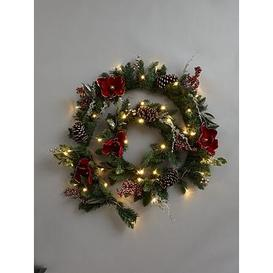 image-6Ft New England Pre-Lit Red Magnolia Christmas Garland
