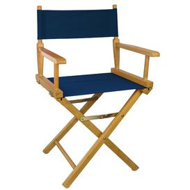 image-Lydell Folding Director Chair Dakota Fields Colour (Fabric): Navy, Colour (Frame): Teak