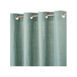 image-Single Lovat Green Washed Linen Eyelet Curtain 130x300