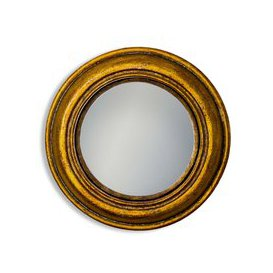 image-Small Gold Rounded Convex Mirror