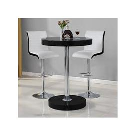 image-Havana Bar Table In Black With 2 Ritz White And Black Bar Stools