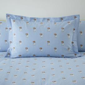 image-Archie Dog Printed 100% Cotton Oxford Pillowcase Blue, White and Brown
