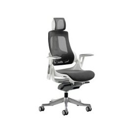 image-Zephyr Mesh Back Executive Operator Chair With Headrest, Charcoal, Free Standard Delivery
