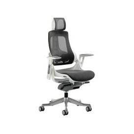 image-Zephyr Mesh Back Executive Operator Chair With Headrest, Charcoal