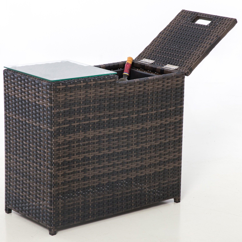 image-Maze Rattan Ice Bucket Side Table / Brown