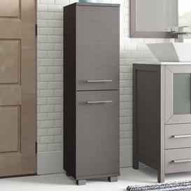 image-Myrna 30 x 117cm Free Standing Tall Bathroom Cabinet Zipcode Design Colour: Dark grey