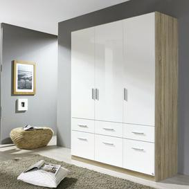 image-Celle 3 Door Wardrobe Rauch Colour: Highgloss white and light Sanremo oak