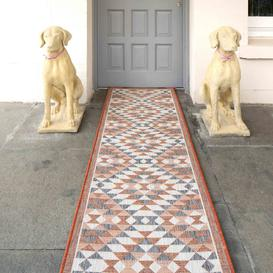 image-Terracotta Geometric Diamond Weatherproof Outdoor Patio Area Runner Rug - Florida