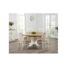 image-Mark Harris Turin Oak and Cream Dining Set - 150cm Round with 4 Cavanaugh Chairs