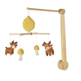 image-Musical mobile for babies with reindeer and mushrooms in multicoloured knitted cotton