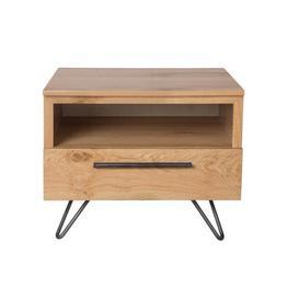 image-Miles Oak and Metal Lamp Table