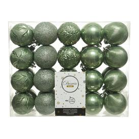 image-A by AMARA Christmas - Set of 40 Assorted Baubles - Sage Green