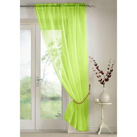 image-Troy Slot Top Panel Sheer Curtain (Set of 2) Marlow Home Co. Colour: Lime, Panel Size: 145 W x 183 D cm