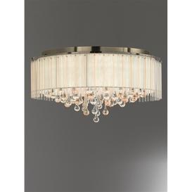 image-F2345/8 Large 8 Light Flush Ceiling Light In Bronze With Crystal Drops