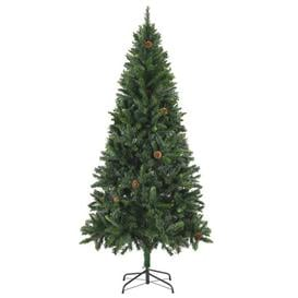 image-6ft Green Pine Artificial Christmas Tree with Stand Berkfield