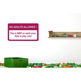 image-No Adults Allowed This Is Not an Adult Area Kids at Play Only Wall Sticker Happy Larry Size: Medium, Colour: Violet
