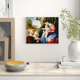 image-Madonna and Child with Two Donors, 1525-1530 by Lorenzo Lotto Framed Art Print