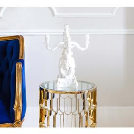 image-Monkey Candelabra in White - Home Decor