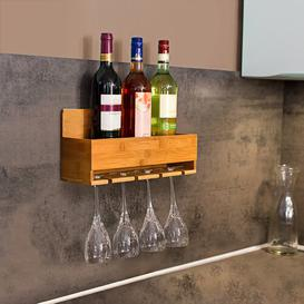 image-Vance 4 Bottle Wall Mount Wine Rack Natur Pur