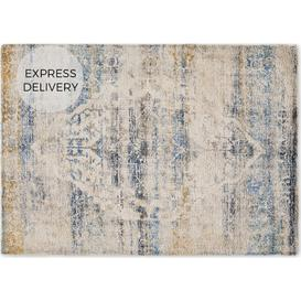 image-Ilyass Moroccan Style Rug, Large 160 x 230cm, Navy & Antique Gold