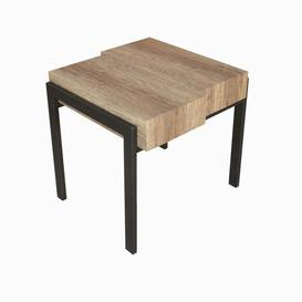 image-Hampton Wooden End Table In Canyon Grey With Metal Legs