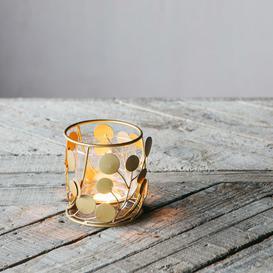 image-Circular Brass and Glass Tea Light Holder