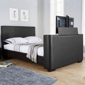 image-Newark King Size TV Bed Black Faux Leather