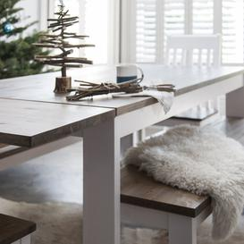 image-Nordic Dining Table Pair of Extensions in White and Dark Pine