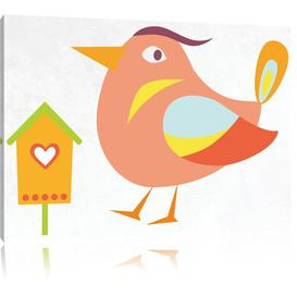 image-Cute Bird with Bird House Art Print on Canvas in Beige/White East Urban Home Size: 60cm H x 80cm W
